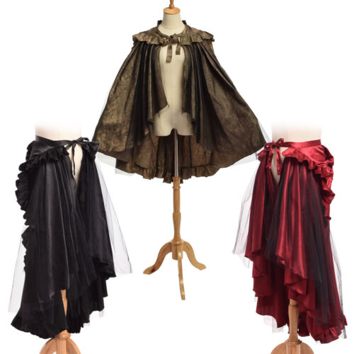 Vintage Gothic Victorian Ruffle Bustle Skirt Cape