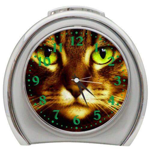 Beautiful Cat Face Alarm Clock Night Light Travel Table Desk