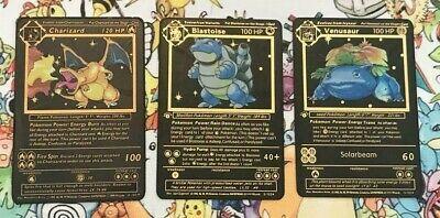 Venusaur Pokemon Charizard Blastoise Shadowless Gold Metal Custom Card