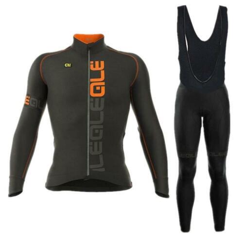 Black Color Mens Cycling Jersey Bib Pant Set Long Sleeve Mens Cycling Jersey Set