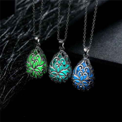 Glow In Dark Locket Hollow Glowing Stone Luminous Choker Silver Pendant Necklace