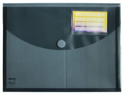 5x Dokumententaschen Umschläge Klettverschluss Dehnfalte A4 rauch transparent