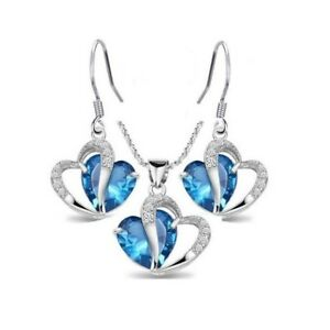 Parure-Bijoux-Coeur-Cristal-Swarovski-Zirconia-Turquoise-Plaque-Or-750