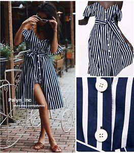1c9bc91e5f4c NWT ZARA SS18 BLUE/WHITE STRIPED JUMPSUIT DRESS Off the shoulder ...