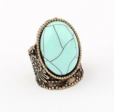 R1383 New Charm Hot Vintage Antique Turquoise Nice Flower Finger Ring Size 6