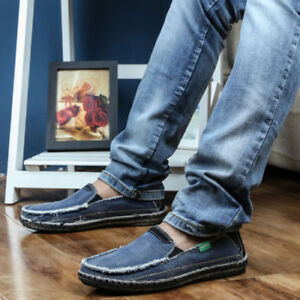 Details about Casual Mens Jeans Shoes Slip On Sneakers Denim Cowboy Flat  Loafer