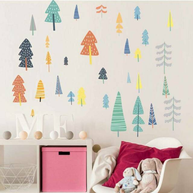 Cartoon Forest Wall Decals Woodland Tree Art Wall Stickers For Kids Room h