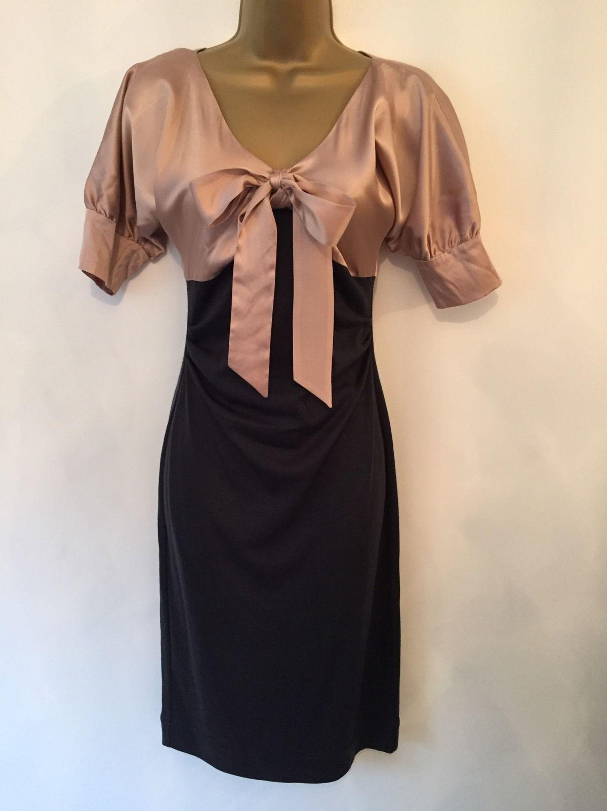 Diane Von Furstenberg 8 10 XS Seda  Melocotón Y Negro Vestido Ajustado arco Smart 1940s  ahorra hasta un 50%