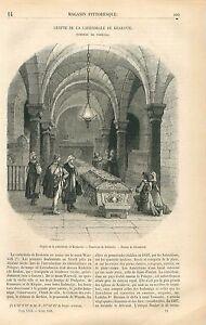Cathedrale-du-Wawel-de-Cracovie-Roi-Jean-III-Sobieski-Pologne-GRAVURE-PRINT-1861