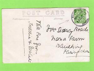 Children-on-Horse-RP-old-pc-used-1913-Watchfield-Shrivenham-temporary-postmark