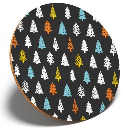 1 x Arbre De Noël Motif Rond Coaster Cuisine étudiant enfants cadeau #16992