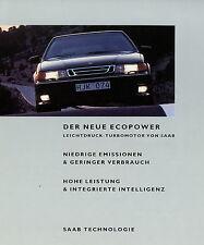 Prospekt Saab Ecopower Turbomotor 1 94 1994 Autoprospekt Auto PKW brochure