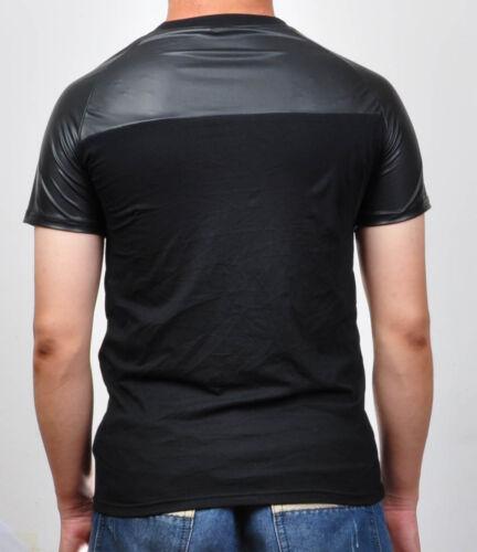 Men Cotton T-Shirt Faux Raglan Sleeve Shirt Undershirt Top Fitness Manly Wear