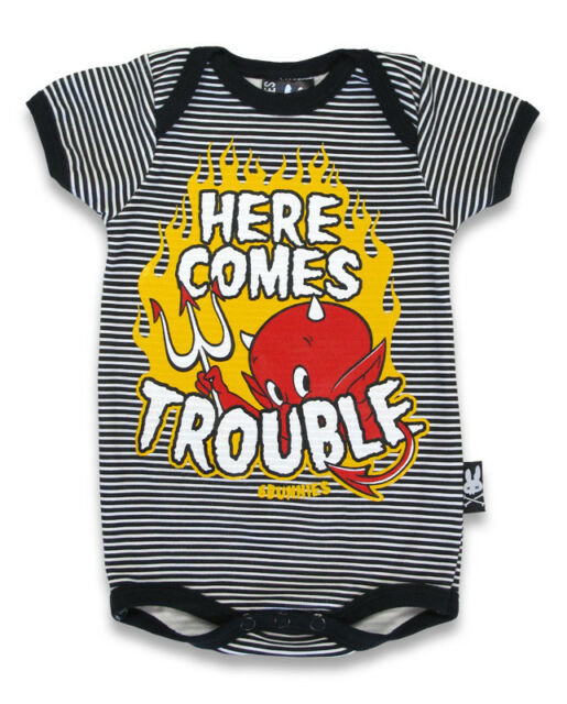 BABY ROMPER HERE COMES TROUBLE DEVIL ROCKABILLY GIFT BABY SHOWER SIX BUNNIES