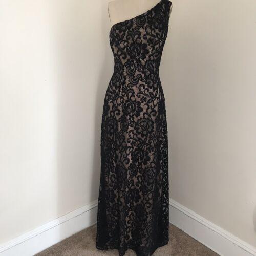 Dessy Collection Gown Black Lace One Shoulder Dre… - image 1