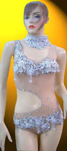 Showgirl Burlesque Cabaret Nude Body Suit Salsa Latin Dance Dress Rhinestone