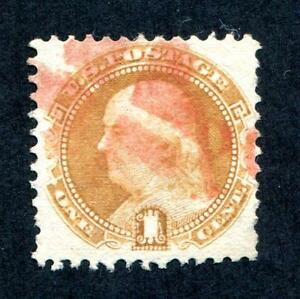 #112 - F/VF w/ red geometric type grid cancel - great stamp / cancel combo -