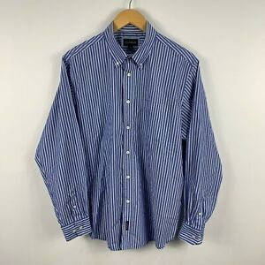 Gazman-Mens-Button-Up-Shirt-Size-Large-Blue-Striped-Long-Sleeve-Collared