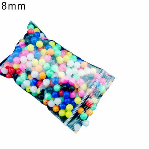 Bg /_ 100Pcs 6mm//8mm Rund Mehrfarbig Rigg Perlen Hochseeangeln Köder Schwimmer
