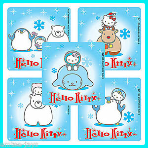Hello-Kitty-Winter-Stickers-x-5-Snowflakes-Party-Favours-Penguin-Birthday