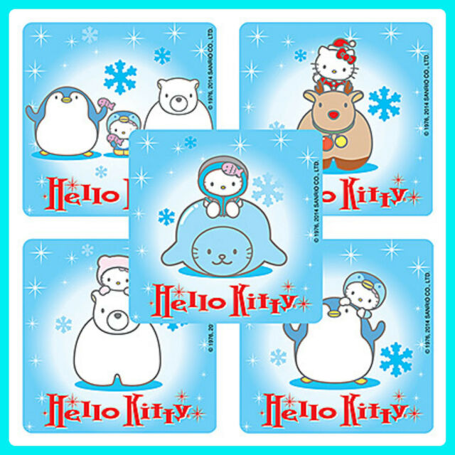 Hello Kitty Winter Stickers x 5 - Snowflakes - Party Favours - Birthday Penguin