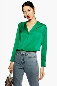 Topshop-Green-Satin-V-Neck-Shirt-Top-Pyjama-Blouse-2019-Long-Sleeve-6-to-16