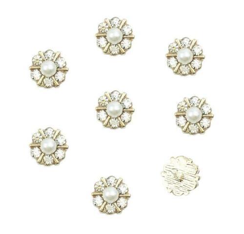 20Pcs Gold Alloy Rhinestone Pearl Flower Flatback Embellishments for Crafts 12mm