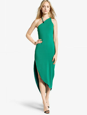 HALSTON HERITAGE Asymmetric Fitted Dress Emerald