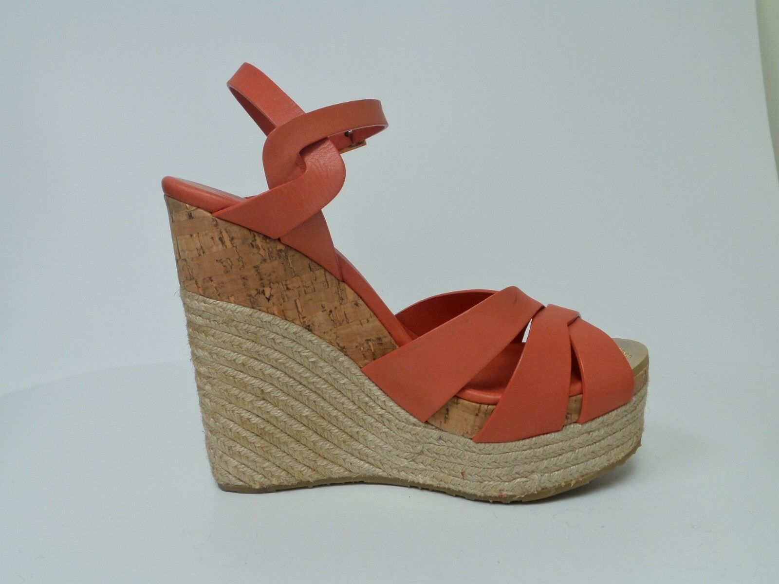 JIMMY CHOO Peach Leather Wedge Sandals Taille 39 (8.5 US)
