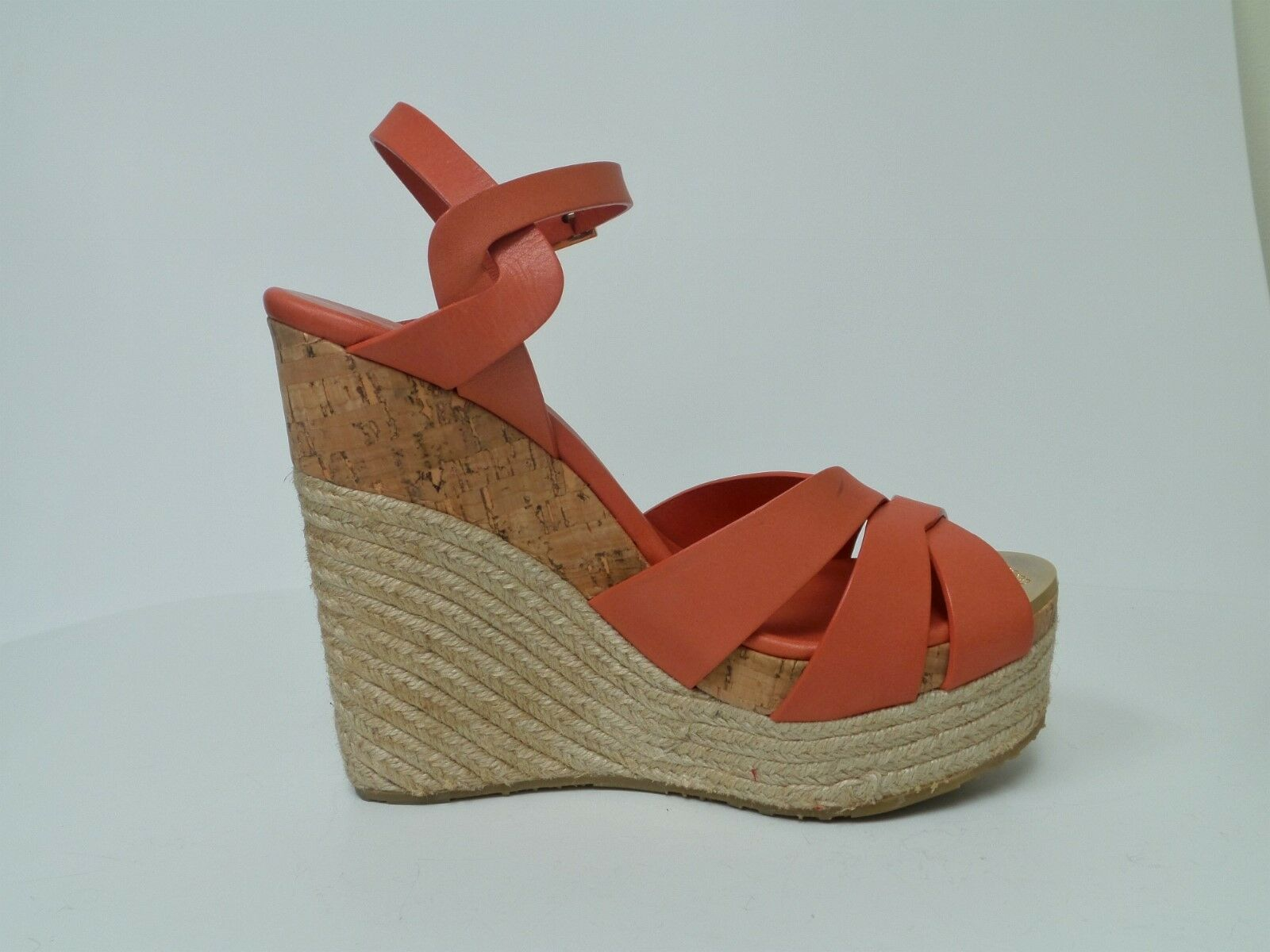 JIMMY CHOO Peach Leather Wedge Sandals size 39 (8.5 US)