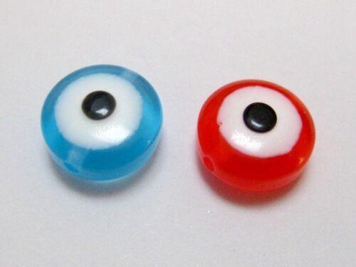 100 Mixed Colour Acrylic Kabbalah Evil Eye Coin Rondelle Beads 12X6mm 10X5mm
