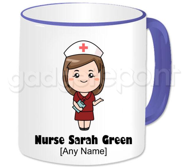 Personalised Gift Nurse Mug Burgundy Dress Medical Student Mentor Present Idea