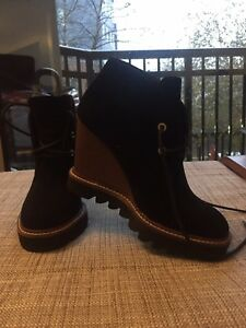 Black Suede Lace-Up Wedge Bootie Size
