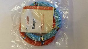 New-African-Jewelry-Maasai-Bangle-Bracelet-2-pack-Fair-Trade-orange-blue-kenya
