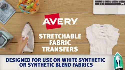 3302 5 Sheets Avery 8.5 x 11 Stretchable Fabric Transfers for Injet Printers