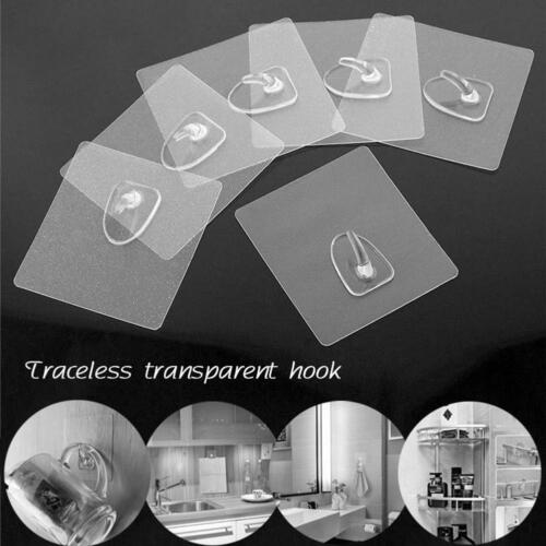 6Pcs Anti-skid Hooks Reusable Strong Sticky Transparent Wall Hanging Hooks New