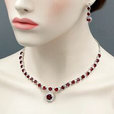 White Gold Plated Ruby Cubic Zirconia Necklace Earrings Wedding Jewelry Set 5176