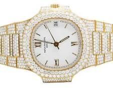 18k Yellow Gold Ladies Patek Philippe Nautilus 3800/001 Pave Set Diamond Watch