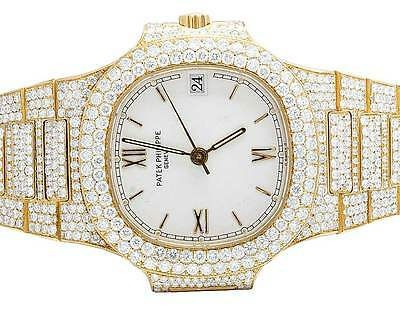 nuovo concetto cdf30 eb2bf 18k Yellow Gold Ladies Patek Philippe Nautilus 3800/001 Pave Set Diamond  Watch 605963279076 | eBay