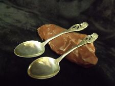 Pretty Pair Antique Finland 813 h Silver Demitasse Flower & Wheat Stalk Spoons