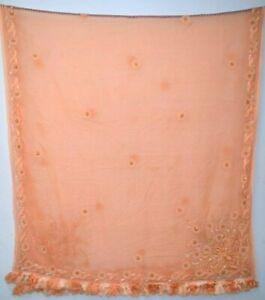 Vintage-Dupatta-Long-Stole-Pure-Chiffon-Silk-Hand-Beaded-Orange-Scarves