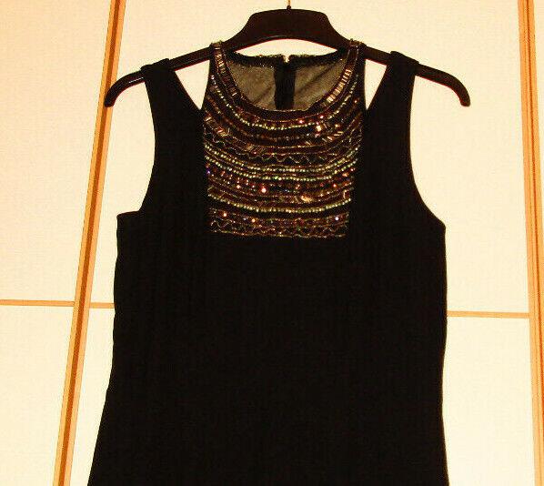 Ordentlich Ashley Brooke Schönes Kleid M. Perlen-dekolleté Schwarz G R.36 Neu Ohne Etikett