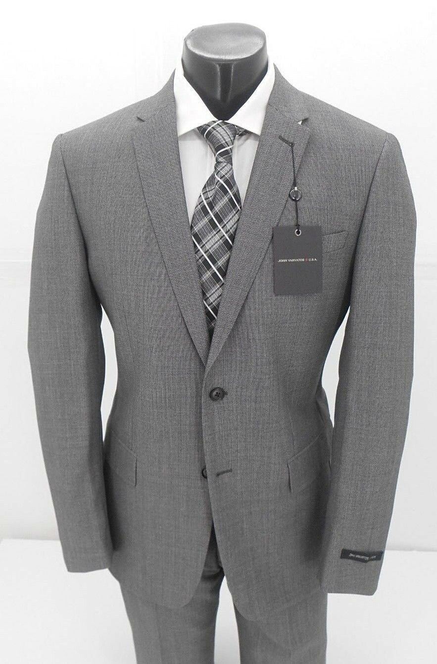 John Varvatos 100% Wool  Grey Nailhead Men's Suits   42R 42L 44L  46L