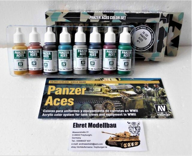 WWII Panzer Aces Rost, Ketten , Gummi Nr.1 Acryl Farbset 8 Farben Vallejo 70122