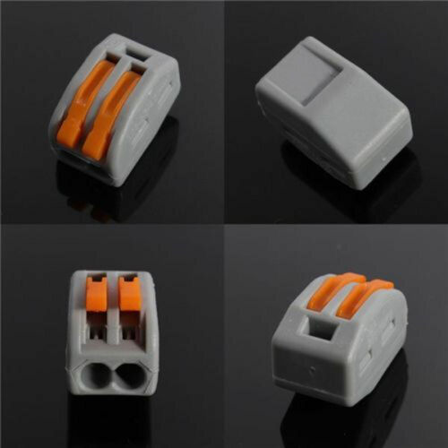 10X SPRING LEVER TERMINAL BLOCK ELECTRIC CABLE WIRE CONNECTOR 2 WAY FO