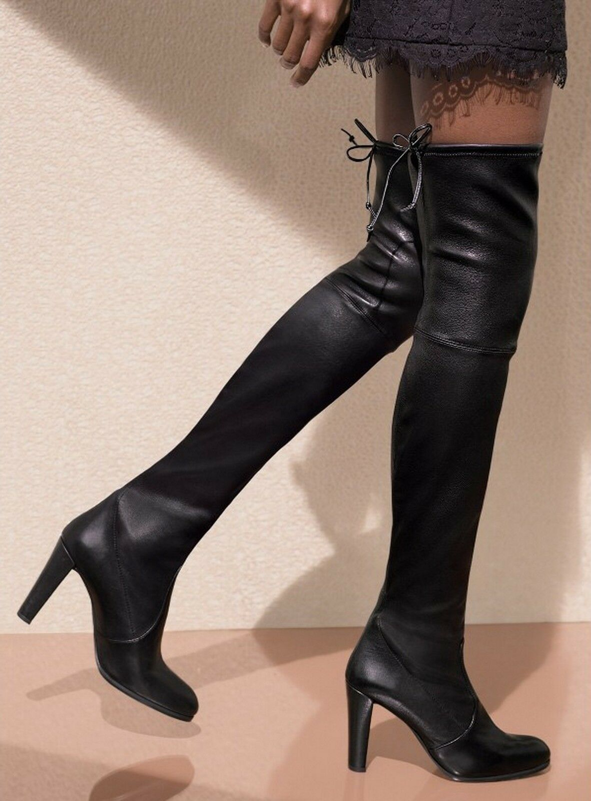 NEW Stuart Weitzman Highland Over-the-Knee boot shoes 86801, Black Leather, US 5M
