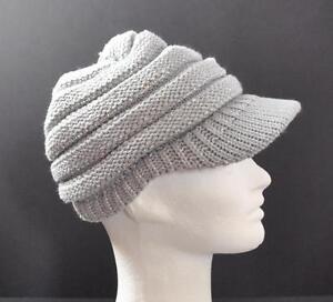 C-C-Exclusives-Knit-Metallic-Grey-Horizontal-Ribbed-Hat-Cap-Brim-Beanie-Visor-G1