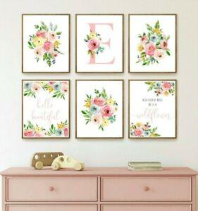 Vivero Floral Rosa Monograma Personalizado Arte tipografía Flores Silvestres Set 6 629-A