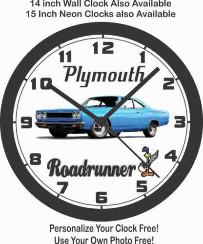 1968 PLYMOUTH ROADRUNNER WALL CLOCK-FREE USA SHIP!-Choose 1 of 2