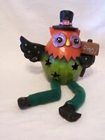 Resin Owl With Cloth Legs & Boo Sign Decoration Halloween Trick Or Treat Autumn
